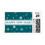 Happy New Year Teal White Snow Stamp