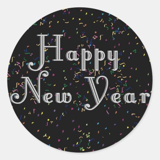 Happy New Year Text Design Classic Round Sticker