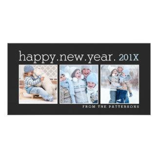 Happy New Year Three Photo Classic Black Photocard Card
