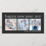 """Happy New Year Three Photo Classic Black Photocard Holiday Card<br><div class=""""desc"""">Space for three photographs of your family set in a classic black card that wishes loved ones a Happy New Year. With a contemporary style and clean,  simple design.</div>"""
