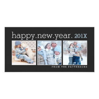 Happy New Year Three Photo Classic Black Photocard Photo Card
