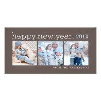 Happy New Year Three Photo Mocha Photocard Card