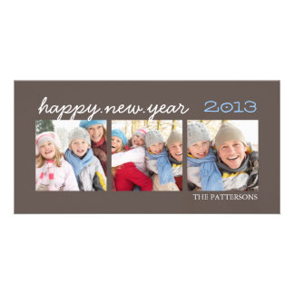 Happy New Year Three Photo Mocha Photocard Card