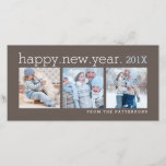 """Happy New Year Three Photo Mocha Photocard Holiday Card<br><div class=""""desc"""">Space for three photographs of your family set in a rich mocha card that wishes loved ones a Happy New Year. With a contemporary style and clean,  simple design.</div>"""