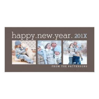 Happy New Year Three Photo Mocha Photocard Photo Card