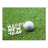 Happy New Year to Golfer Postcard
