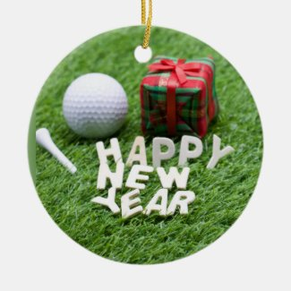 Happy New Year to golfer with golf ball and gift Ceramic Ornament