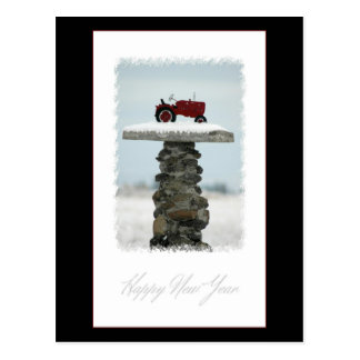 Happy New Year Tractor Postcard