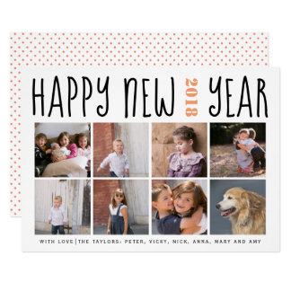Happy New Year typography eight photo collage Card
