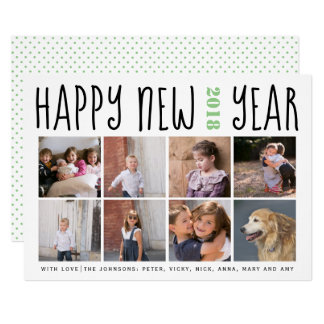 Happy New Year typography eight photo collage sage Card
