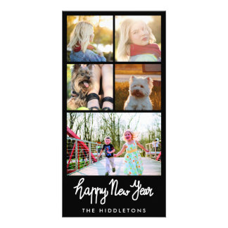 Happy New Year Typography Five Photo Collage Card