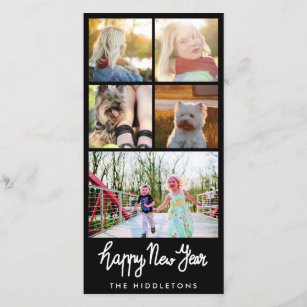 happy new year typography five photo collage holiday card