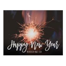 Happy New Year typography sparkles photo Postcard