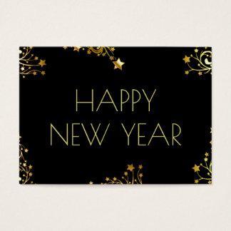 Happy New Year Typography Stars Black Gold Chic Business Card
