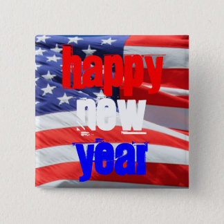 Happy New Year, USA America American Flag Colors Pinback Button
