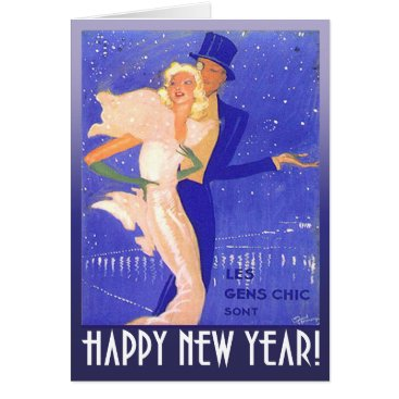 Christmas Themed Happy New Year Vintage Art Deco Couple Card