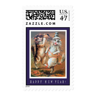 Happy New Year Vintage Cats Postage Stamp