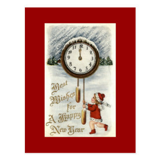Happy New Year Vintage Postcards Child with Clock