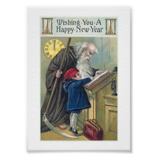 """Happy New Year"" Vintage Poster"