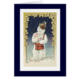 Happy New Year Vintage Snowman Card