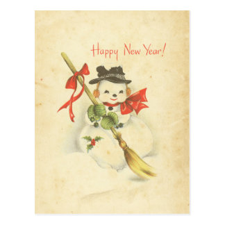 Happy New Year Vintage Snowman Red Bow Holly Broom Postcard