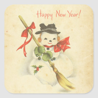 Happy New Year Vintage Snowman Red Bow Holly Broom Square Sticker