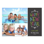 Happy New Year Whimsical Holiday Photo Card Custom Invite