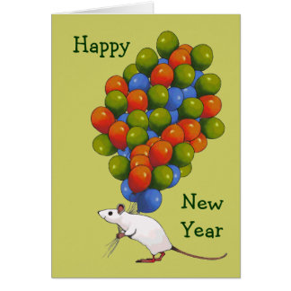 Happy New Year: White Mouse With LOTS of Balloons Card