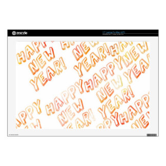 """happy new year white 17"""" laptop decal"""