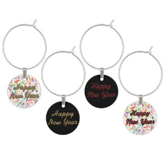 Happy New Year Wine Charms