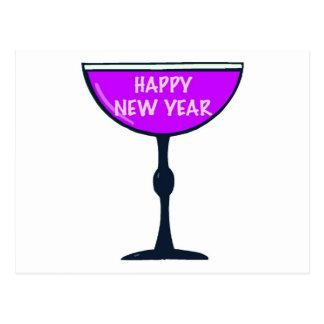 Happy New Year Wine Postcard
