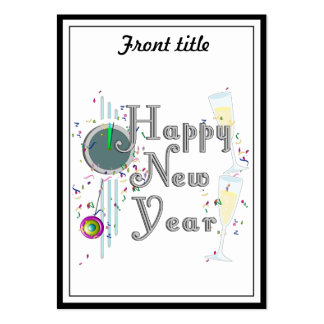 Happy New Year with Champagne & Confetti Large Business Cards (Pack Of 100)