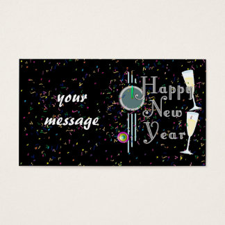 Happy New Year With Champagne & Confetti Business Card