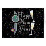 Happy New Year with Champagne & Confetti Greeting Cards