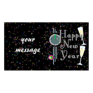 Happy New Year With Champagne & Confetti Double-Sided Standard Business Cards (Pack Of 100)