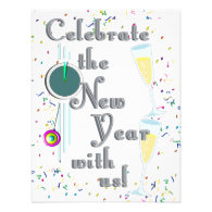 Happy New Year with Champagne & Confetti Custom Invitations