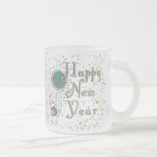 Happy New Year with Champagne & Confetti 10 Oz Frosted Glass Coffee Mug
