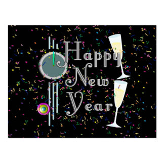 Happy New Year with Champagne Confetti Postcard