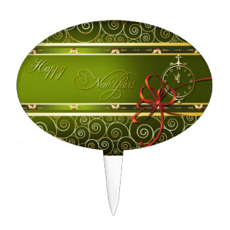 Happy New Year with clock Cake Topper