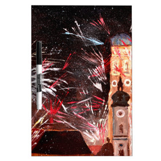 Happy New Year - with Fireworks in Munich Dry-Erase Board