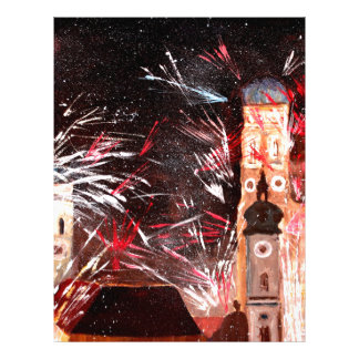 Happy New Year - with Fireworks in Munich Letterhead Template