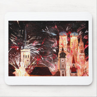 Happy New Year - with Fireworks in Munich Mouse Pad
