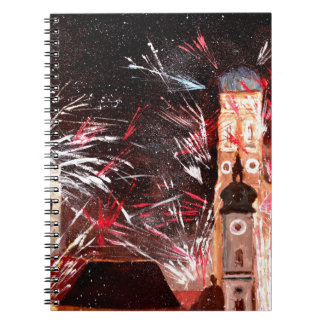 Happy New Year - with Fireworks in Munich Spiral Notebooks