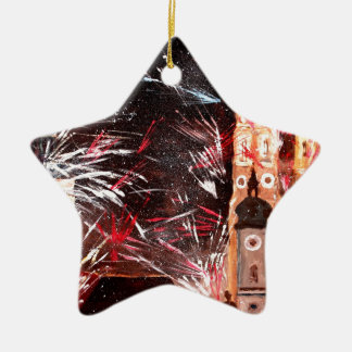 Happy New Year - with Fireworks in Munich Double-Sided Star Ceramic Christmas Ornament
