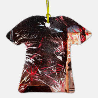 Happy New Year - with Fireworks in Munich Double-Sided T-Shirt Ceramic Christmas Ornament