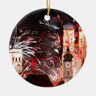 Happy New Year - with Fireworks in Munich Double-Sided Ceramic Round Christmas Ornament
