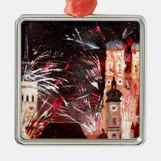 Happy New Year - with Fireworks in Munich Square Metal Christmas Ornament