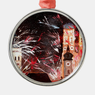 Happy New Year - with Fireworks in Munich Round Metal Christmas Ornament