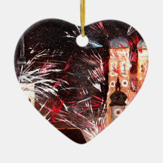 Happy New Year - with Fireworks in Munich Double-Sided Heart Ceramic Christmas Ornament