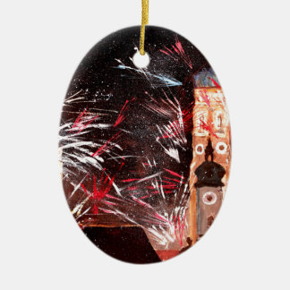Happy New Year - with Fireworks in Munich Double-Sided Oval Ceramic Christmas Ornament